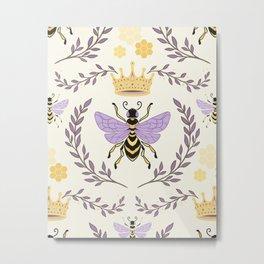 Queen Bee - Lavander Purple and Yellow Metal Print