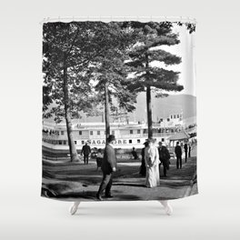 Vintage Lake George: The Sagamore Docks at Green Island Shower Curtain