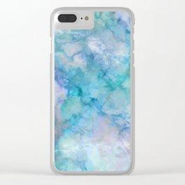 Beautiful & Stylish Aqua and Blue Marble Clear iPhone Case