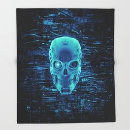 Gamer Skull BLUE TECH / 3D render of cyborg head Throw Blanket
