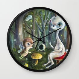 Uney & Friends in the Enchanted Forest Wall Clock