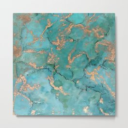 Turquoise and Gold - original painting by Tracy Sayers Trombetta Metal Print