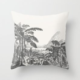 Palms and Mountain Throw Pillow