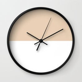 White and Pastel Brown Horizontal Halves Wall Clock