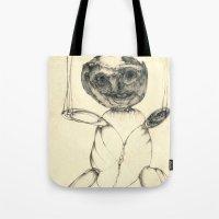 teddy bear Tote Bags featuring Teddy bear by Attila Hegedus