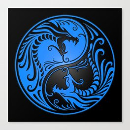 Blue and Black Yin Yang Dragons Canvas Print