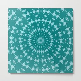 Tanager Turquoise and Teal Blue Abstract Pattern Mandala Metal Print