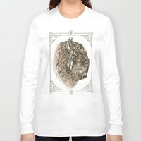 buffalo Long Sleeve T-shirts featuring Buffalo Portrait by Rachel Caldwell