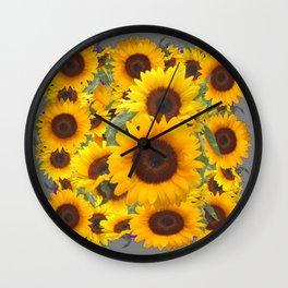 DECORATIVE GREY WESTERN YELLOW SUNFLOWERS Wall Clock