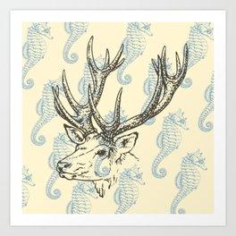 Reindeer with Seahorses Art Print