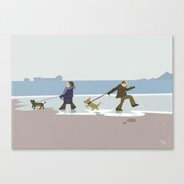 Dog Walkies Beach Wall Art, Beach Art Nursery Decor, Nursery Wall Art for Boys Room Canvas Print
