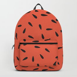 Watermelon Seeds on a Coral Orange Background Backpack