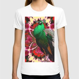 GREEN PEACOCK & RED-CREAM COLOR GEOMETRIC ART T-shirt