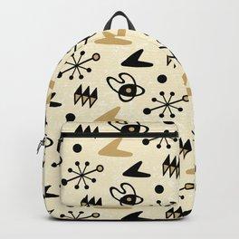 Mid Century Modern Atomic Boomerang Pattern Gold 102 Backpack
