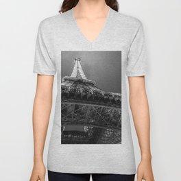 Eiffel Tower 2 (Black and White) Unisex V-Neck