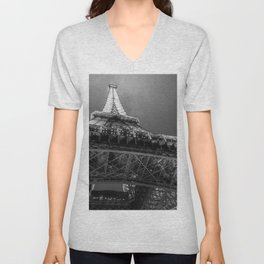 Eiffel Tower 2 (Black and White) Unisex V-Neck
