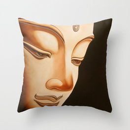 Tranquil oil painting of a peaceful Buddha  Throw Pillow
