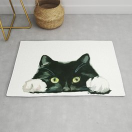 Black cat watching at you Rug
