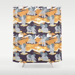 Baby African elephants joy night and day // yellow mustard Shower Curtain