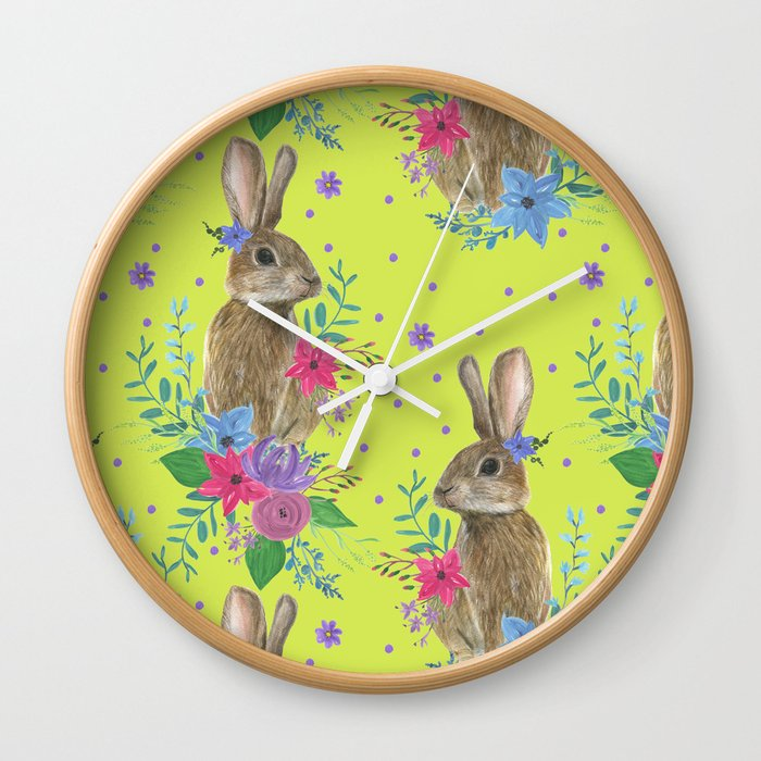 pattern with bunny and flowers Wall Clock