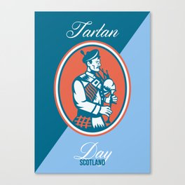 Tartan Day Scotland Bagpiper Greeting Card Canvas Print
