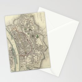 Vintage Map of Frankfurt Germany (1837) Stationery Cards