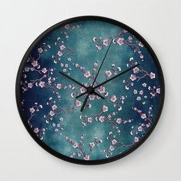 SAKURA LOVE  GRUNGE TEAL Wall Clock