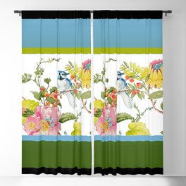 Bluejay Bird Day Floral Blackout Curtain