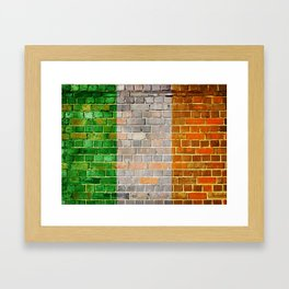 Ireland flag on a brick wall Framed Art Print