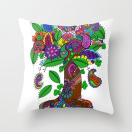 Psychedelic Paisley Tree - on White Background Throw Pillow
