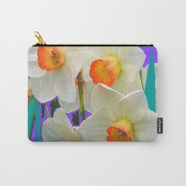 WHITE-GOLD NARCISSUS FLOWERS LAVENDER GARDEN Carry-All Pouch