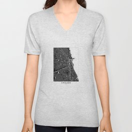 Chicago Black And White Map Unisex V-Neck