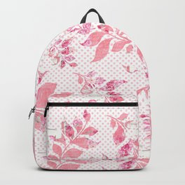 Blush pink white watercolor floral polka dots typography Backpack