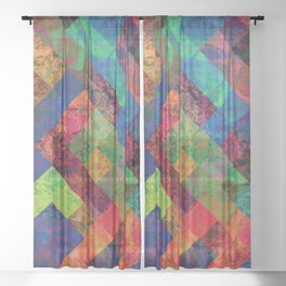 Abstract Colorful Checkered Hippy Design Sheer Curtain