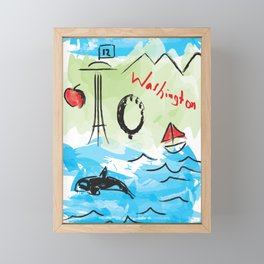 City scape - Seattle, Washington Framed Mini Art Print