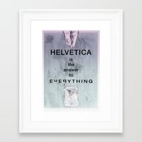 helvetica Framed Art Prints featuring Helvetica by Vera rubinchik