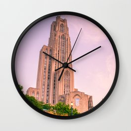 Pittsburgh Cathedral Of Learning Flower Garden Wall Clock
