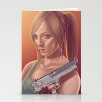 lara croft Stationery Cards featuring Lara Croft by Steven Herbers