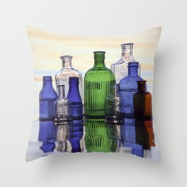 Beach Bottles Throw Pillow
