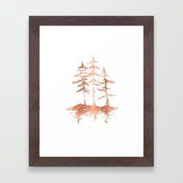 Three Sisters Trees Rose Gold on White Framed Art Print