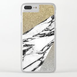 Silver Gold Glitter and Marble Geometric Pattern Clear iPhone Case