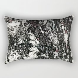 Black Web Dripping // Red Speckled Granite Stone Texture Rectangular Pillow