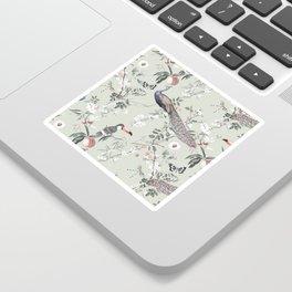 Oriental Peacock Toucan Floral Pattern Sticker