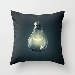 Birth of an Idea / 3D render of man inside light bulb Throw Pillow