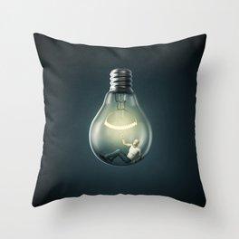 Birth of an Idea / 3D render of man inside light bulb Throw Pillow