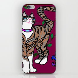 Pretty Kitty, Rocket with Fleur de Lis iPhone Skin
