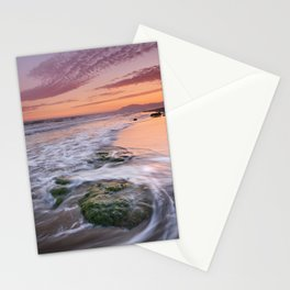 Green rocks. Sunset at the beach Stationery Cards