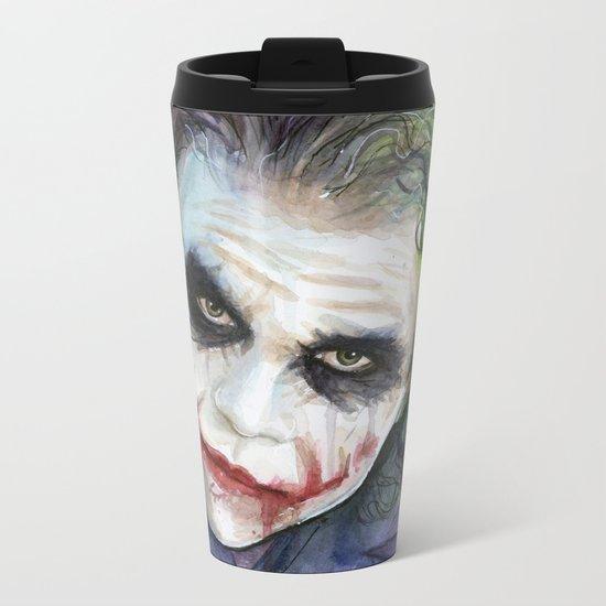 The Joker Watercolor Metal Travel Mug