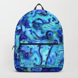 WATER LILIES, blue turquoise & purple abstract oil painting  Backpack