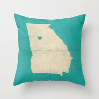 atlanta Throw Pillows featuring Atlanta, Georgia by Fercute
